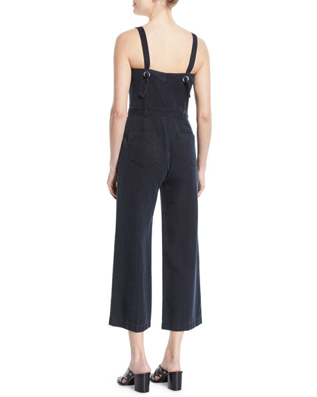 Emma Sleeveless Belted Cropped Denim Jumpsuit