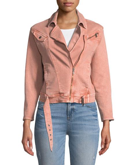 Sivan Zip-Front Belted Denim Jacket