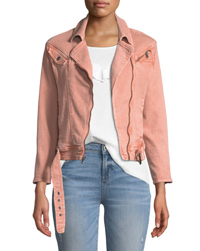 Sivan Zip-Front Belted Denim Jacket