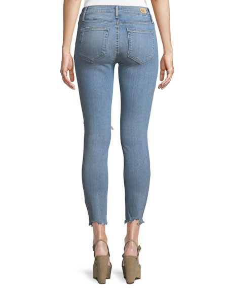 Hoxton Distressed Skinny Ankle Jeans w/ Worn-In Hem