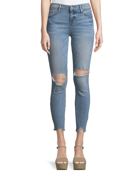 PAIGE Hoxton Distressed Skinny-Leg Ankle Jeans w/ Worn-In