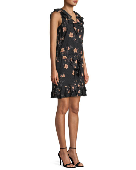 Farfalla V-Neck Sleeveless Floral-Print Cotton Dress