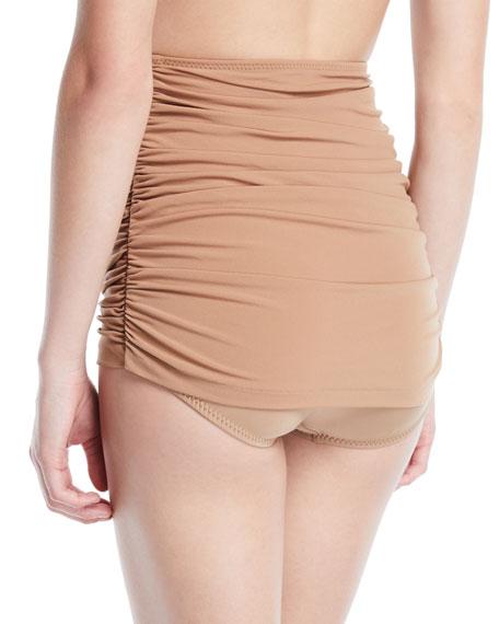 Bill Shirred High-Waist Skirted Bikini Swim Bottoms