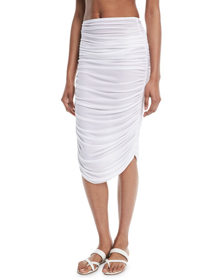 Shirred Knee-Length Coverup Skirt