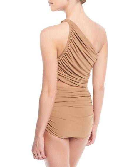Diana One-Shoulder Shirred Swim Top