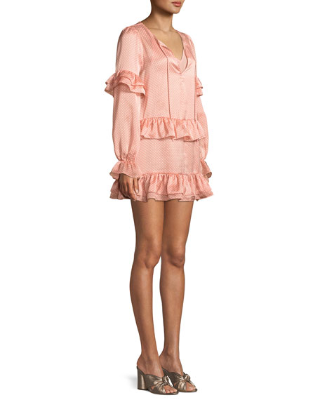Darla Ruffle Dot-Print Mini Dress