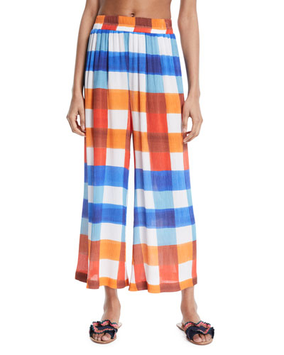 Paloma Wide-Leg Check Pants