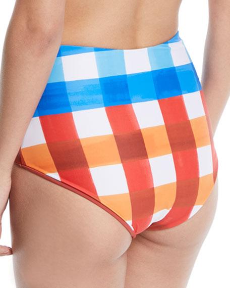 Lydia High-Waist Check Swim Bikini Bottom