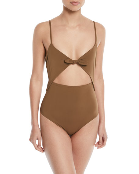 Kia Cutout One-Piece Swimsuit - Brown