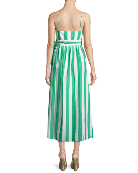 Alma Sleeveless Striped Cotton Wrap-Front Maxi Dress