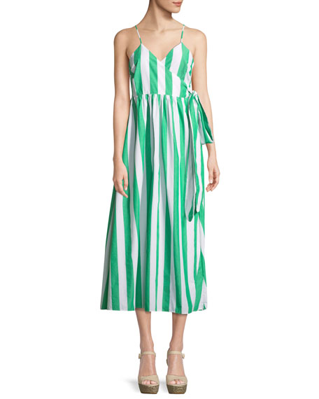 Mara Hoffman Alma Sleeveless Striped Cotton Wrap-Front Maxi
