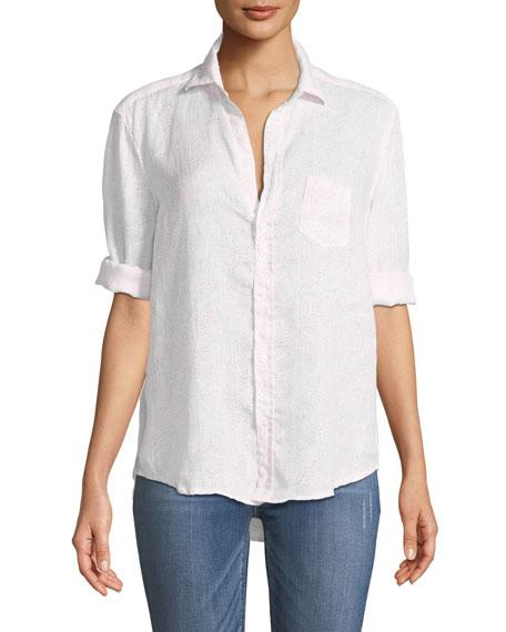 Eileen Long-Sleeve Button-Down Linen Top
