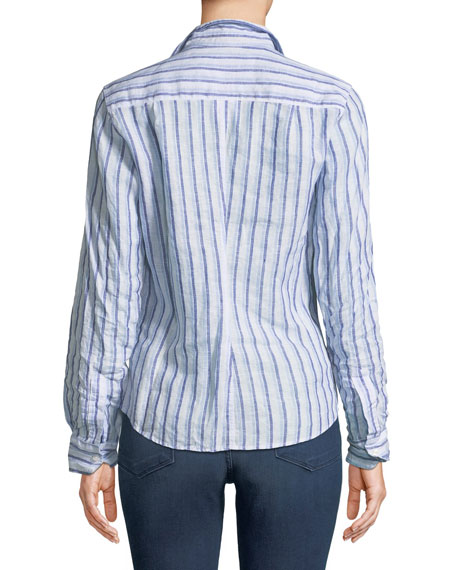 Barry Striped Long-Sleeve Linen Shirt