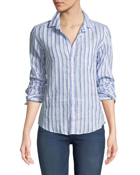 Frank & Eileen Barry Striped Long-Sleeve Linen Shirt