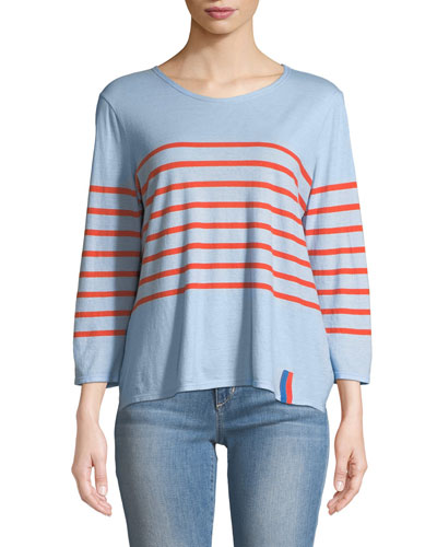 The Malibu Striped 3/4-Sleeve Top
