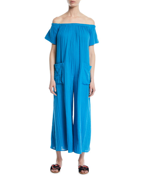 Blanche Extra Wide-Leg Cotton Jumpsuit Coverup