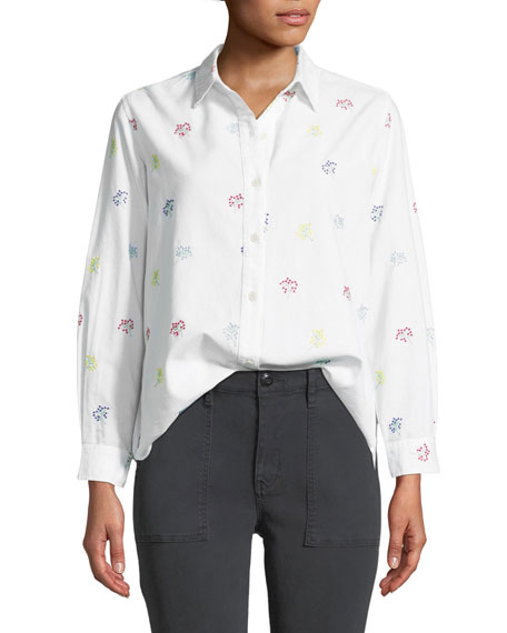The Campus Floral-Embroidered Button-Down Cotton Shirt