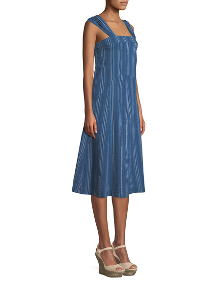 Sundown Sleeveless Textured-Stripe Yea-Length Denim Dress