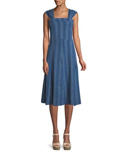 Sundown Sleeveless Textured-Stripe Yea-Length Denim Dress