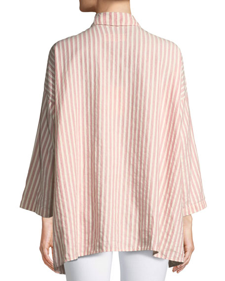 Long-Sleeve Side-Slit Button-Up Cotton Shirt
