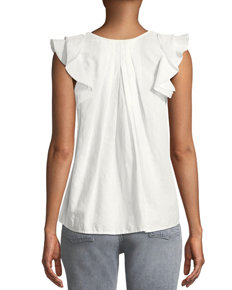 The Tulip Billowy-Sleeve Pintuck Linen-Cotton Top