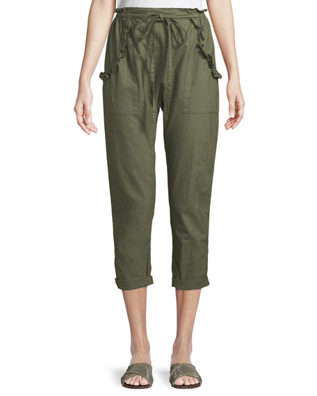 The Great The Tulip Linen-Cotton Cropped Pants