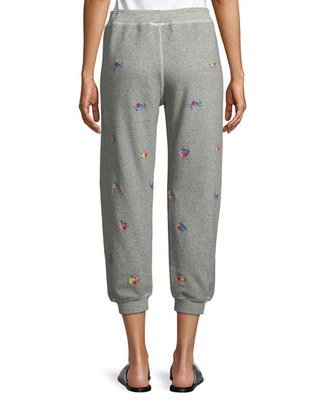 The Cropped Floral-Embroidered Sweatpants
