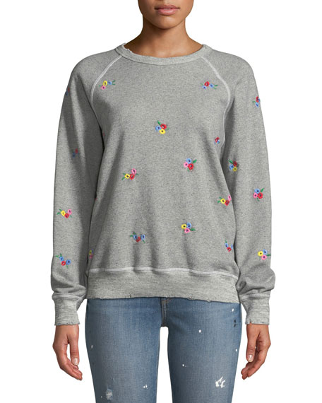 The College Sweatshirt w/ Floral-Embroidery