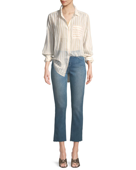 High-Waist Cropped Straight-Leg Jeans