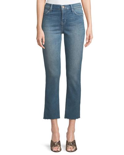 High-Waist Cropped Straight-Leg Jeans