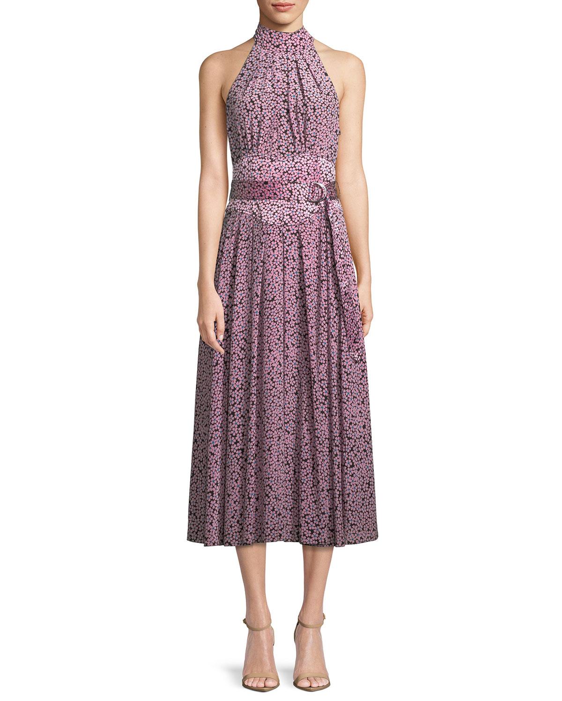 88fb0fbed7ce Diane von Furstenberg Halter-Neck Floral Belted Dress