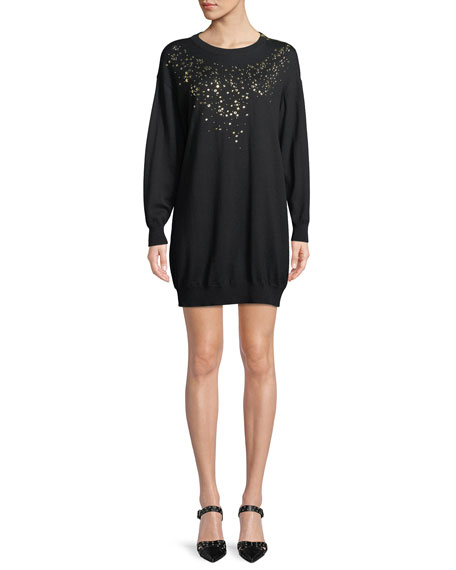 BOUTIQUE MOSCHINO Studded-Front Sweater Dress in Black