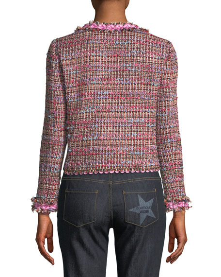 Flower-Trim Tweed Jacket