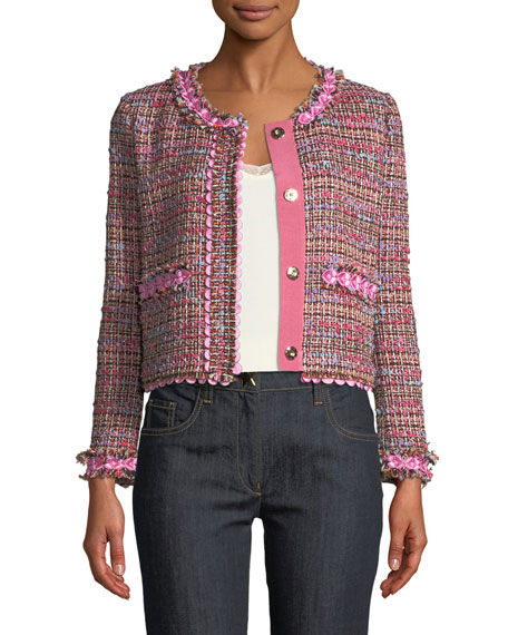 Boutique Moschino Flower-Trim Tweed Jacket