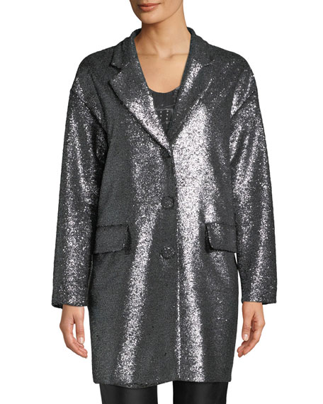 Metallic Boucle Long Jacket