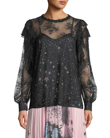 Lace Blouse with Printed Camisole