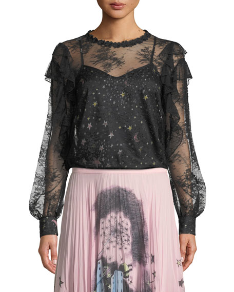 Boutique Moschino Lace Blouse with Printed Camisole and