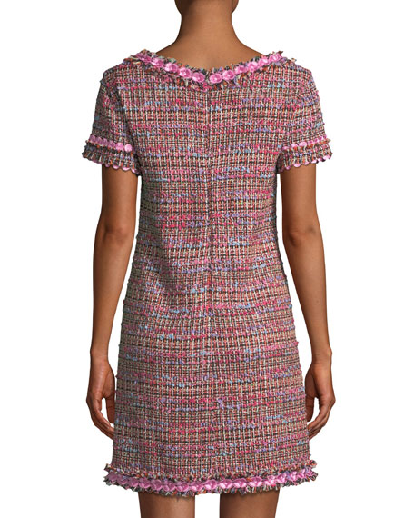 Flower-Trim Tweed V-Neck Dress