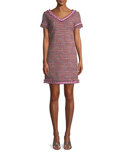 Flower-Trim Tweed V-Neck Dress