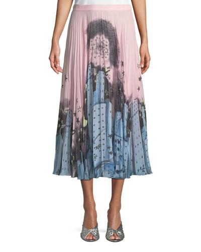 Urban-Print Pleated Midi Skirt