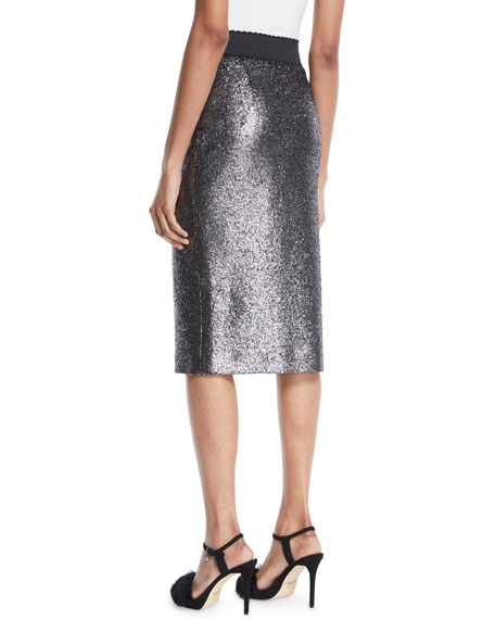 Metallic Boucle Knit Pencil Skirt
