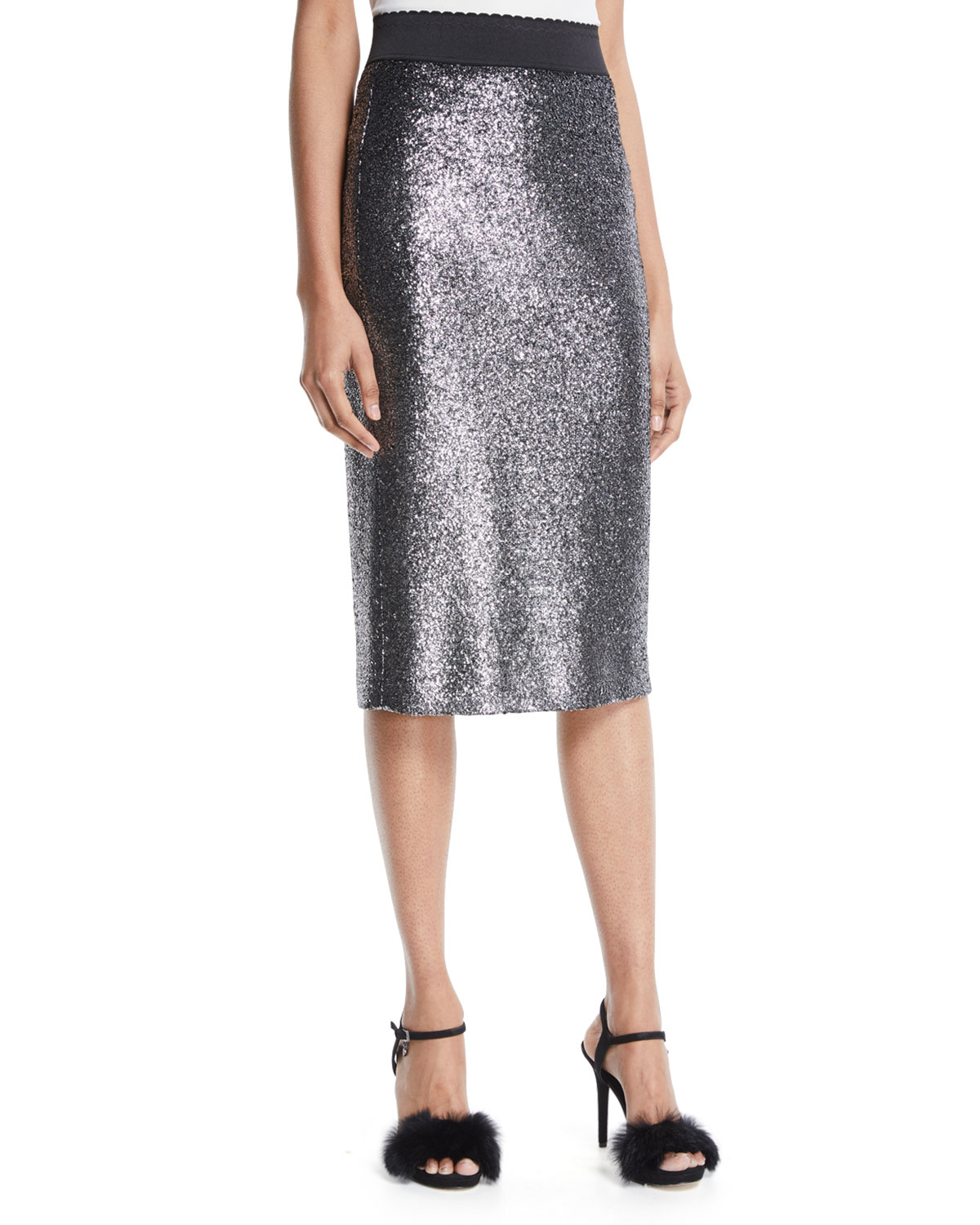 01a5785c92a Boutique Moschino Metallic Boucle Knit Pencil Skirt