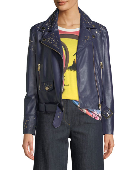Boutique Moschino Studded Leather Motorcycle Jacket and Matching