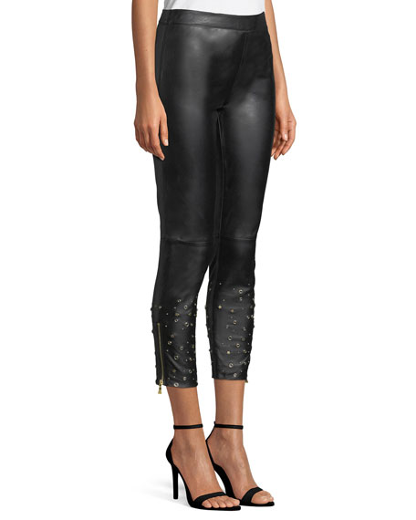 Embellished-Cuff Leather Leggings