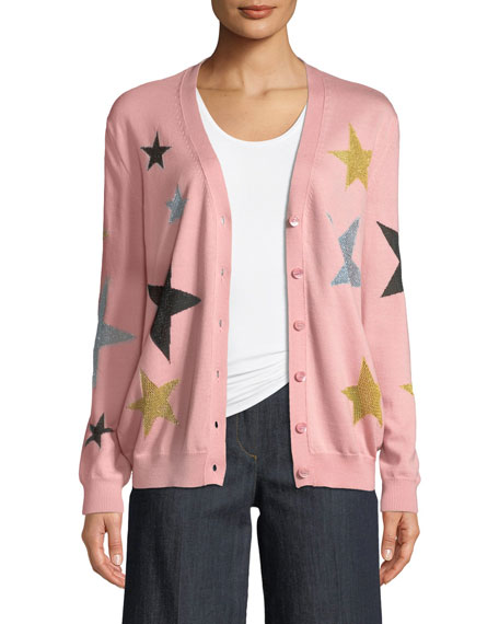 Star-Print Wool Cardigan
