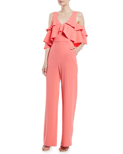 Josephine Cold-Shoulder Ruffle Jumpsuit