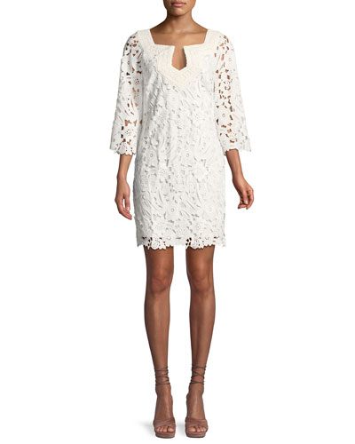 Lace Three-Quarter Sleeve Mini Dress