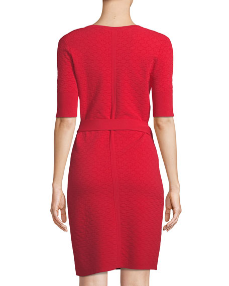 Shot-Sleeve Sweater Wrap Dress
