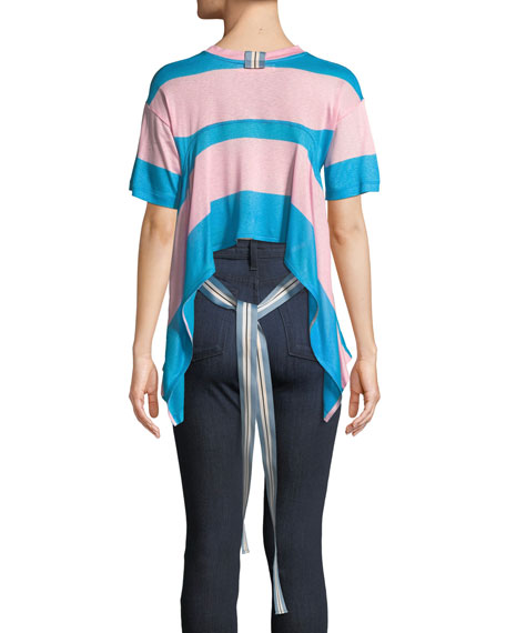 Tie-Back Striped Jersey Tee
