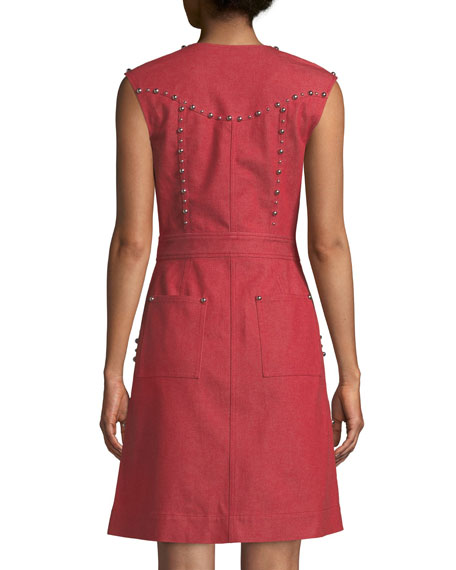 Zip-Front Studded Sheath Dress